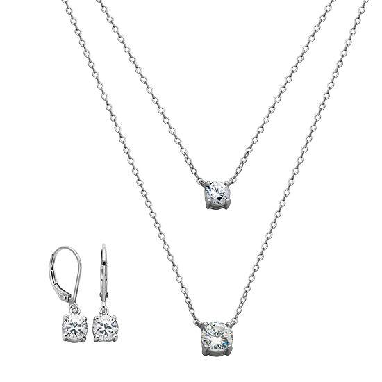 DiamonArt® White Cubic Zirconia Sterling Silver 2-pc. Jewelry Set