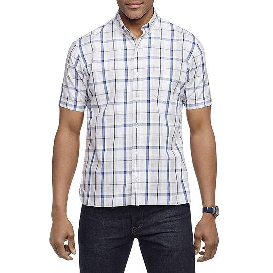 Van Heusen Slim Never Tuck Mens Short Sleeve Button-Down Shirt