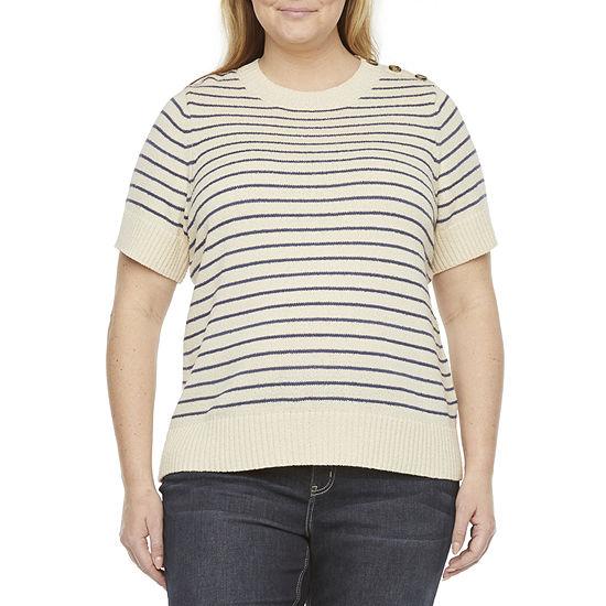 Liz Claiborne-Plus Womens Crew Neck Short Sleeve Striped Pullover Sweater