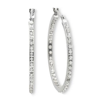 Diamond Fascination 14K White Gold Inside Out Hoop Earrings