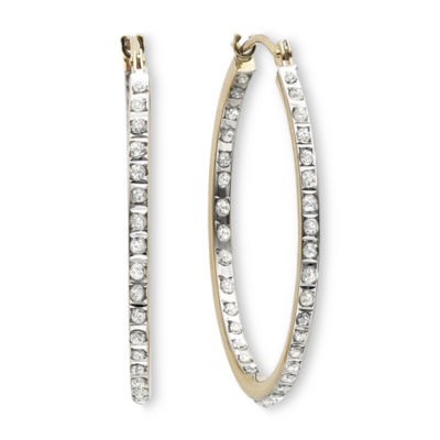 Diamond Fascination 14K Yellow Gold Inside Out Hoop Earrings