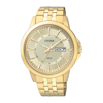 Citizen® Everyday Mens Champagne Dial Gold-Tone Stainless Steel Watch BF2013-56P