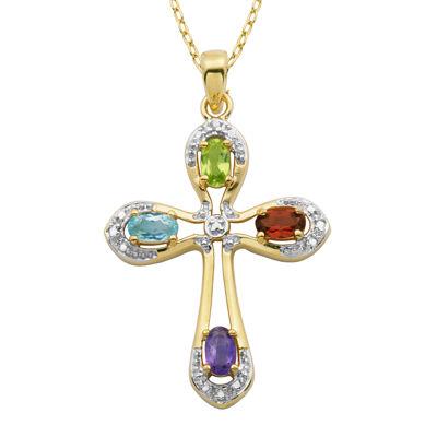 Multi-Gemstone and Diamond-Accent Two-Tone Cross Pendant