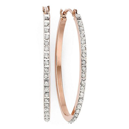 Diamond Fascination 14k Rose Gold Oval Hoop Earrings