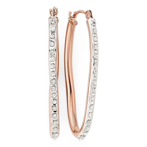 Diamond Fascination™ 14K Rose Gold Wave Hoop Earrings