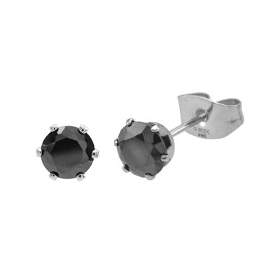 Black Cubic Zirconia 6mm Stainless Steel Stud Earrings