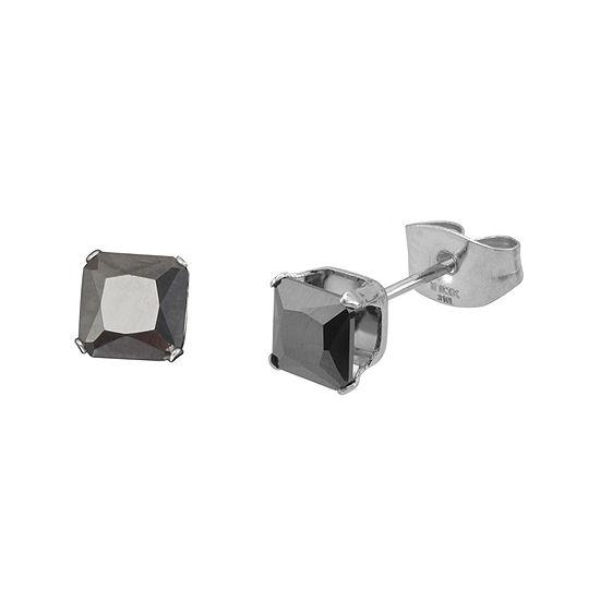 Black Cubic Zirconia 4mm Stainless Steel Square Stud Earrings