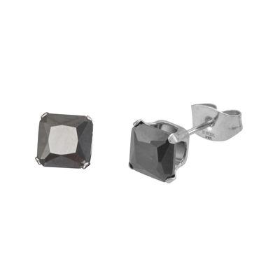 Black Cubic Zirconia 5mm Stainless Steel Square Stud Earrings