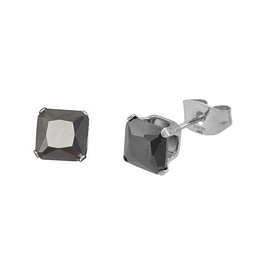 Black Cubic Zirconia 5mm Stainless Steel Square Stud Earrings