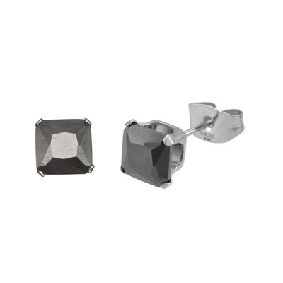Black Cubic Zirconia 6mm Stainless Steel Square Stud Earrings