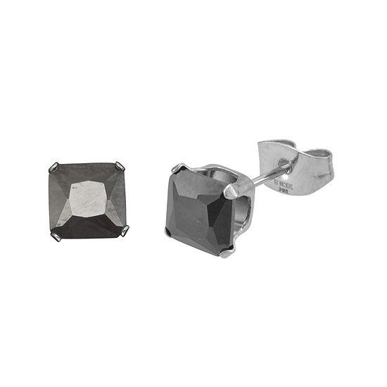 Black Cubic Zirconia 6mm Stainless Steel Square Stud Earrings