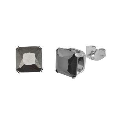 Black Cubic Zirconia 8mm Stainless Steel Square Stud Earrings