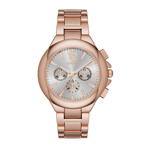 Geneva Womens Silver Dial Rose-Tone Watch