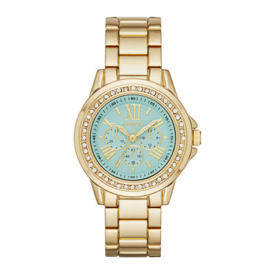 Geneva Womens Mint Dial Gold-Tone Watch