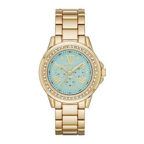 Geneva Womens Mint Dial Gold-Tone Watch