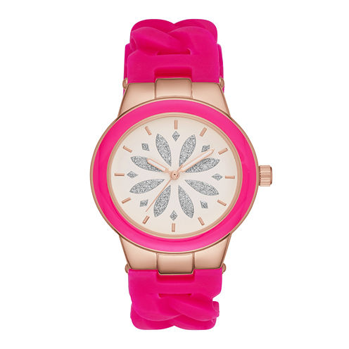 Womens Pink Chain Silicone Strap Watch