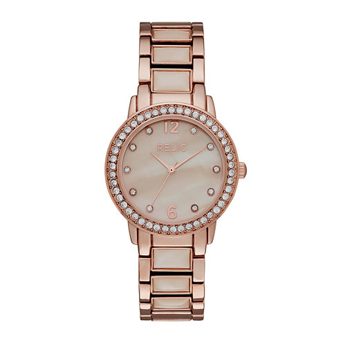 Relic® Womens Crystal Rose-Tone Bracelet Watch