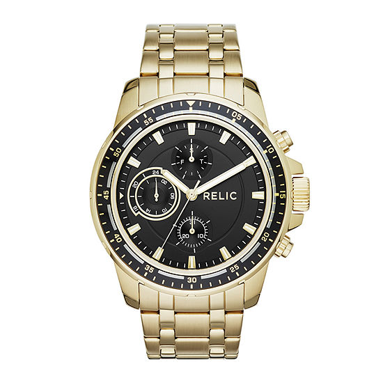 Relic By Fossil Mens Multi-Function Gold Tone Stainless Steel Bracelet Watch - Zr15834