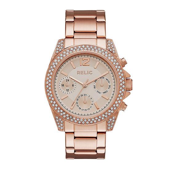Relic By Fossil Womens Rose Goldtone Bracelet Watch-Zr15824