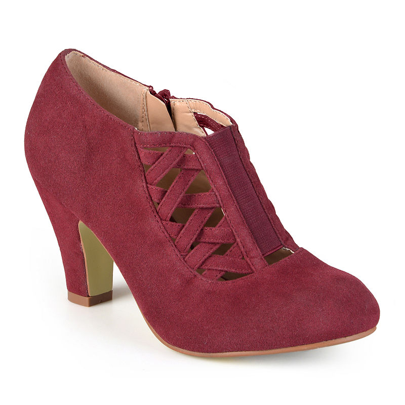 1940s Style Shoes, 40s Shoes Journee Collection Piper Ankle Womens Booties Size 8 12 Medium Red $42.49 AT vintagedancer.com