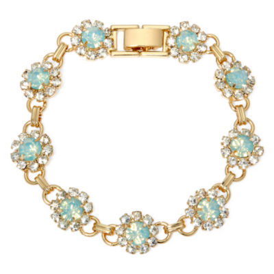Vieste® Mint Stone and Crystal Flower Bracelet
