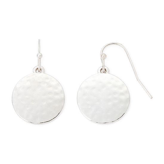 Liz Claiborne Silver Tone Round Drop Earrings