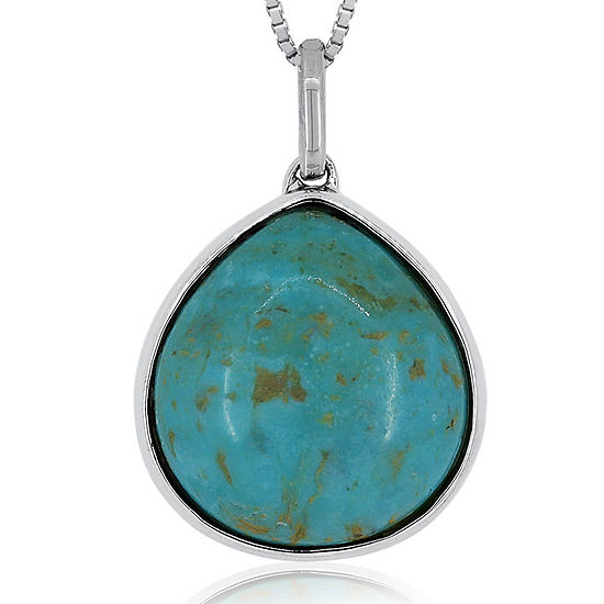 Simulated Turquoise Reversible Sterling Silver Pendant Necklace