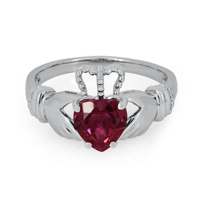 Heart-Shaped Lab-Created Ruby Sterling Silver Ring