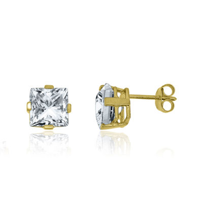 Lab-Created White Sapphire 14K Yellow Gold over Silver Earrings