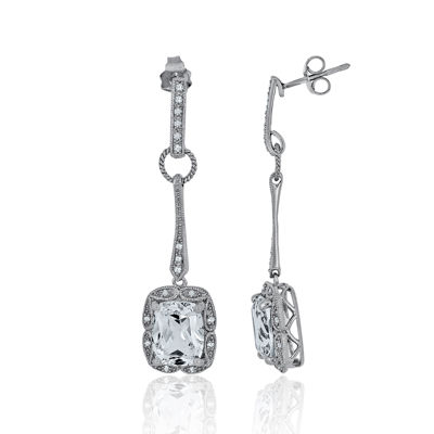 1/7 CT. T.W. Diamond & Lab-Created White Sapphire Sterling Silver Drop Earrings
