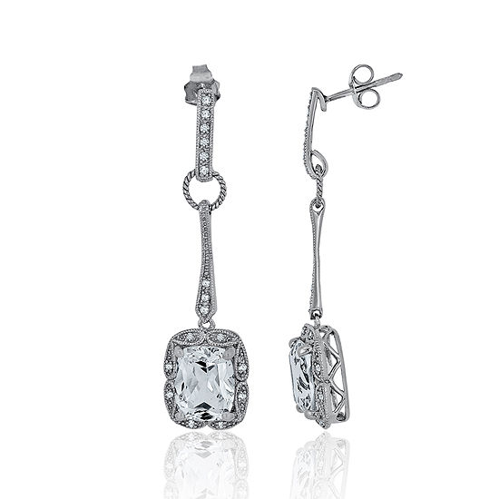 1 7 Ct Tw Diamond Lab Created White Sapphire Sterling Silver Drop Earrings