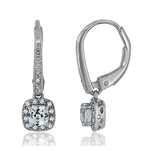 Diamond Accent & Lab-Created White Sapphire Sterling Silver Earrings