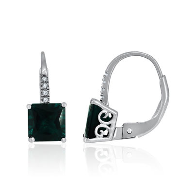 Lab-Created Emerald & White Sapphire Sterling Silver Earrings