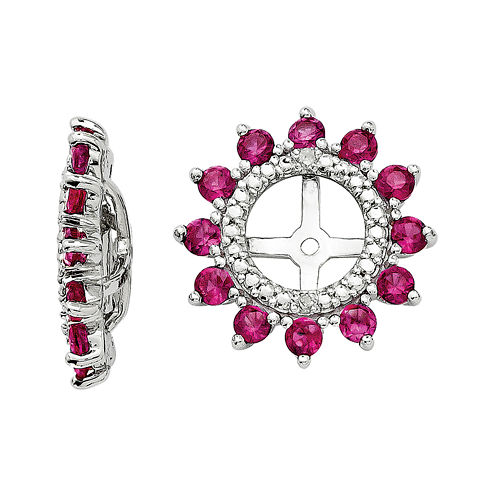 Lab-Created Ruby and Diamond Accent Earring Jackets