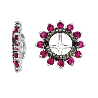 Lab-Created Ruby and Black Sapphire Sterling Silver Earring Jackets