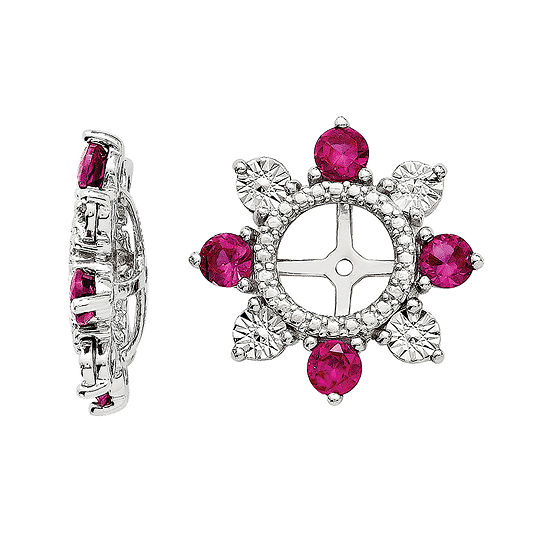 Lab Created Ruby Sterling Silver Earring Jackets