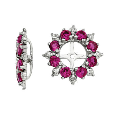Diamond Accent & Lab-Created Red Ruby Sterling Silver Earring Jackets