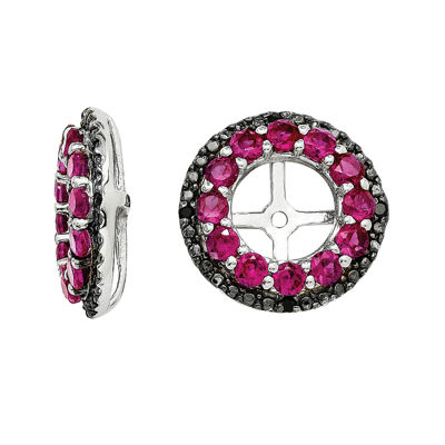 Lab-Created Ruby & Black Sapphire Sterling Silver Earring Jackets
