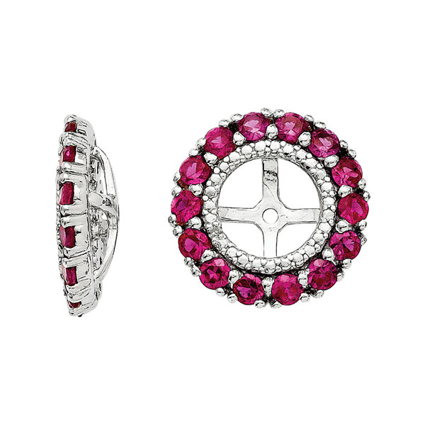Lab-Created Ruby & Diamond Accent Sterling Silver Earring Jackets