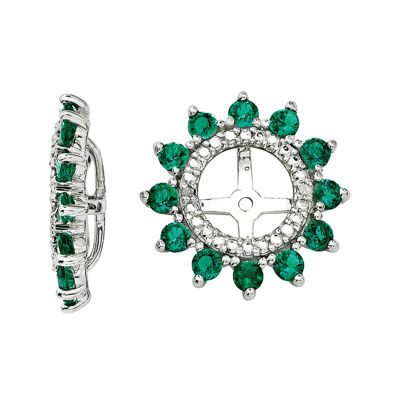 Lab-Created Emerald and Diamond Accent Earring Jackets