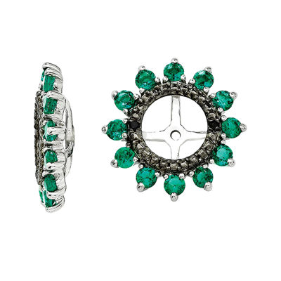 Lab-Created Emerald and Black Sapphire Sterling Silver Earring Jackets