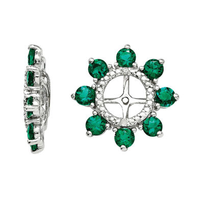 Lab-Created Emerald and Diamond Accent Sterling Silver Earring Jackets