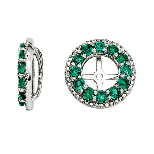 Diamond Accent & Lab-Created Emerald Sterling Silver Earring Jackets