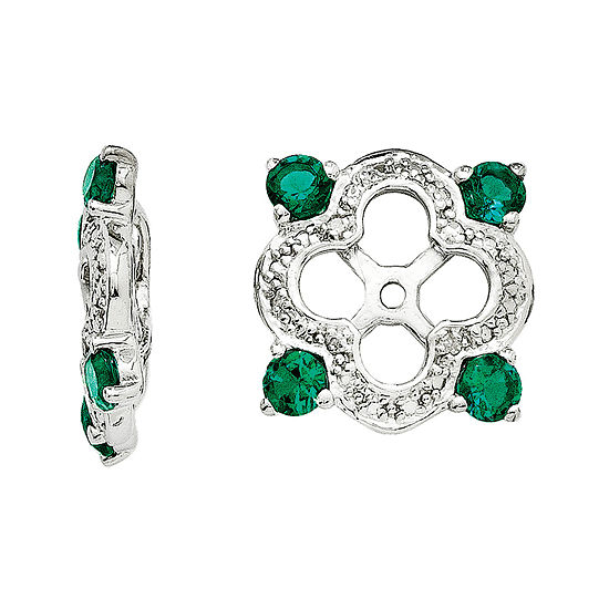 Diamond Accent Lab Created Emerald Sterling Silver Earring Jackets