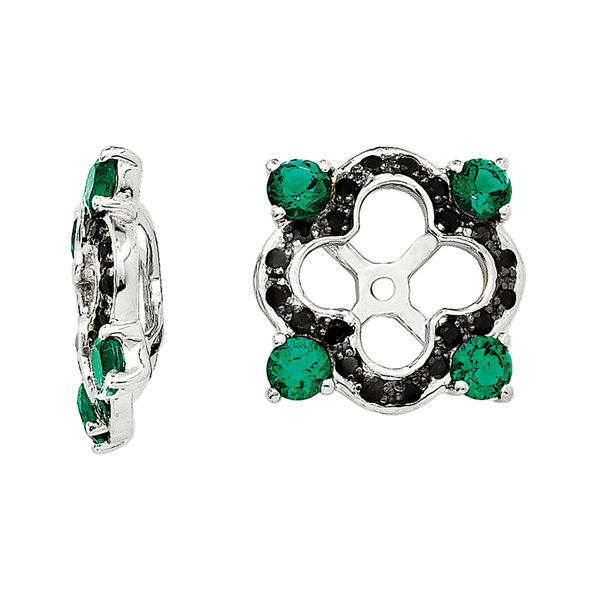 Lab-Created Emerald & Black Sapphire Sterling Silver Earring Jackets