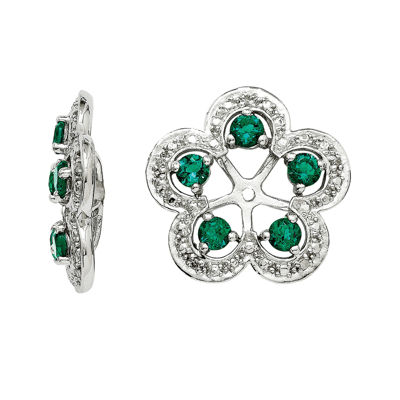 Diamond Accent & Created Emerald Sterling Silver Earring Jackets