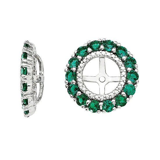 Lab Created Emerald And Diamond Accent Sterling Silver Earring Jackets