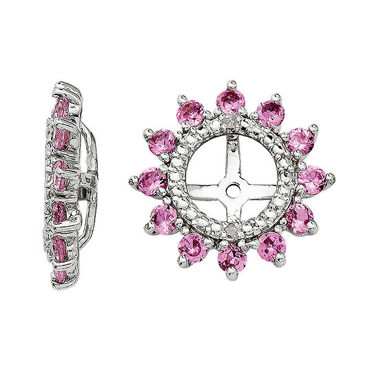 Lab Created Pink Sapphire And Diamond Accent Earring Jackets
