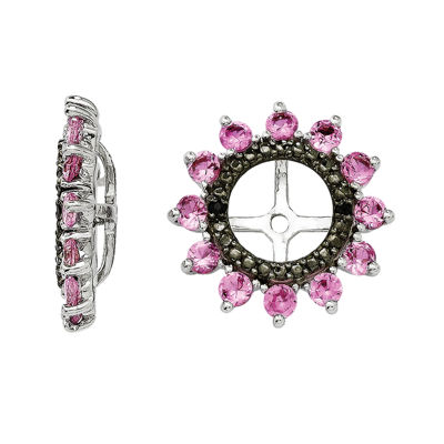 Lab-Created Pink Sapphire and Black Sapphire Sterling Silver Earring Jackets