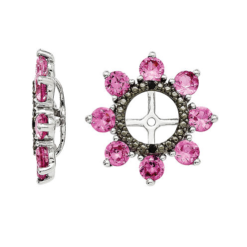 Lab-Created Pink Sapphire and Genuine Black Sapphire Earring Jackets